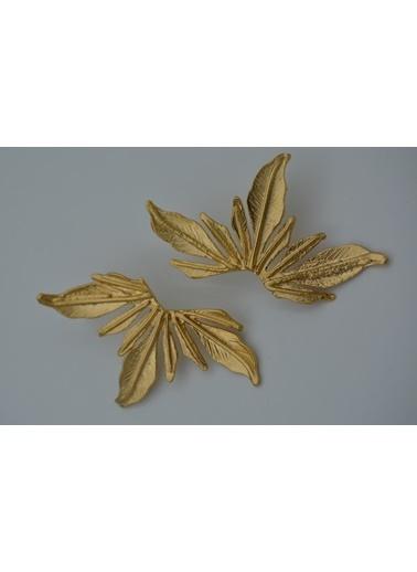 Stoneage Altın Kaplama Küpe Lilyum Çiçeği Altın